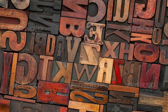 vintage wood letterpress type - Stock Photo - Images