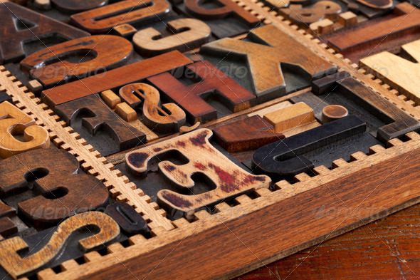 antique letterpress prinitng blocks - Stock Photo - Images