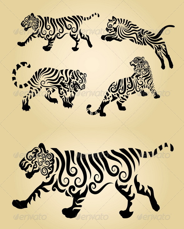 GraphicRiver Tiger Floral Decorations 5029216