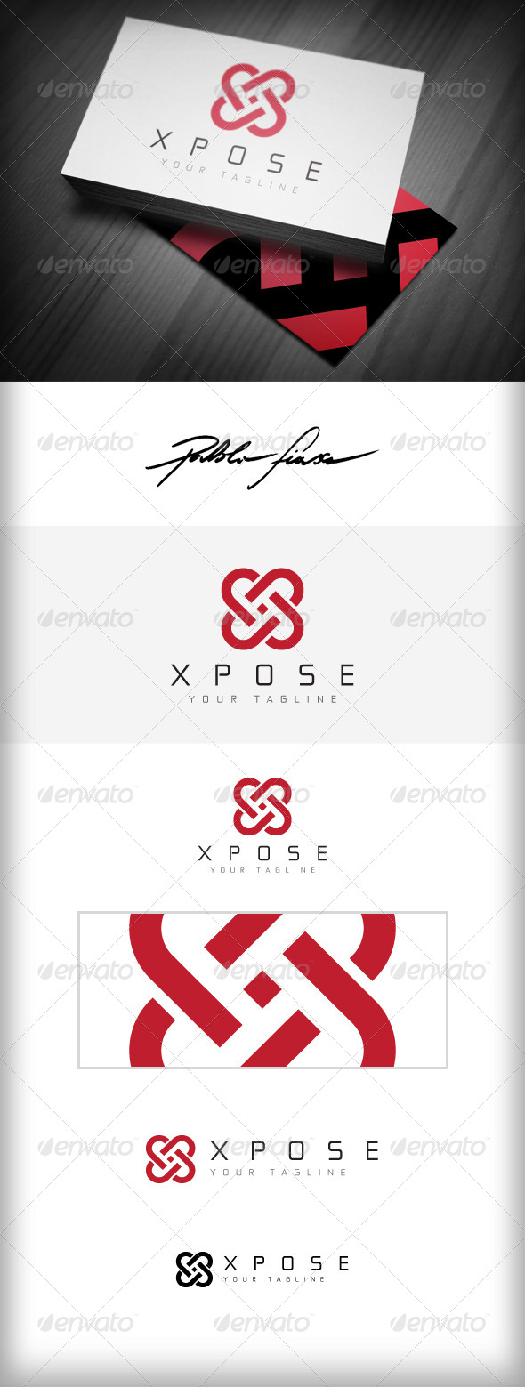 GraphicRiver Letter X Logo Heart Shaped Interlocking X Logo 5031455