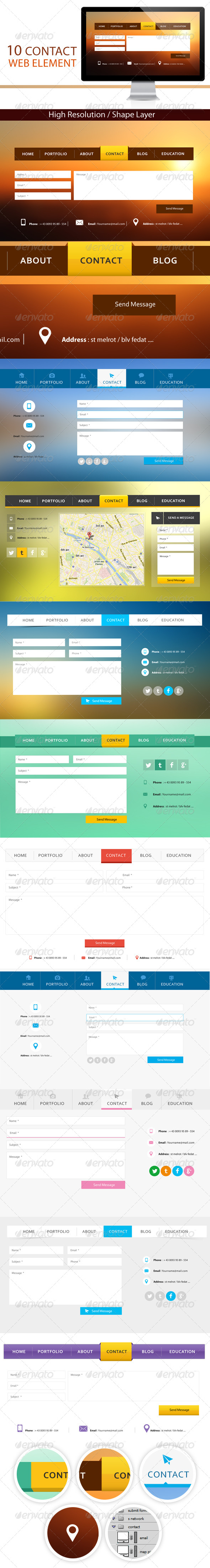 GraphicRiver 10 Contact Web Element 5018141