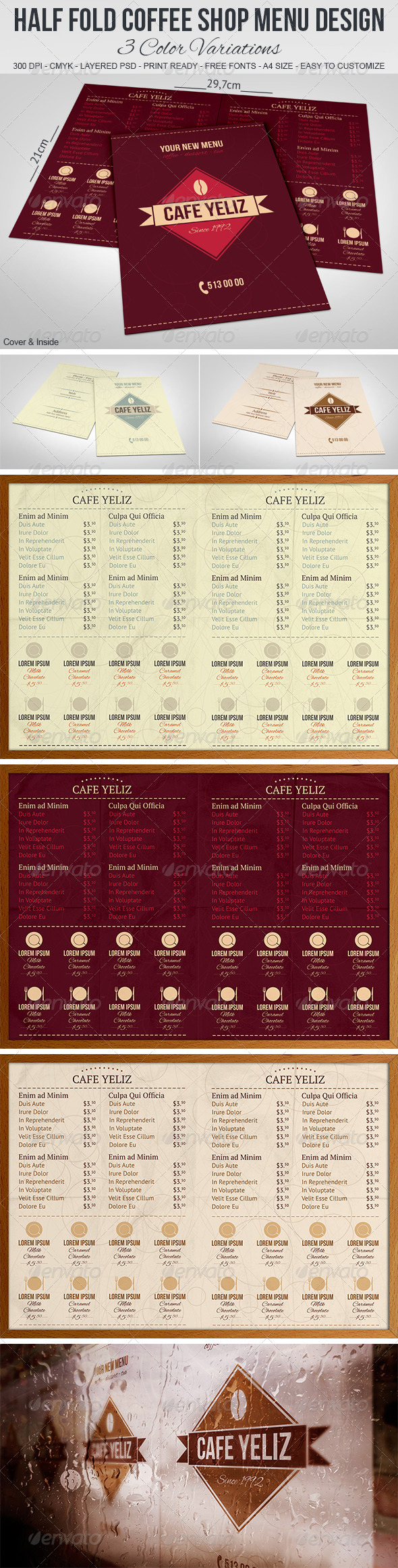 GraphicRiver Half Fold Coffee Shop Menu Design 5032769