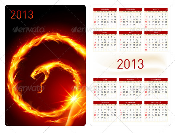 GraphicRiver Calendar twenty thirteen Fire Snake 5033060