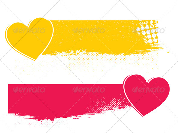 GraphicRiver Set of Two Banners with Hearts Valentine s Day 5034156