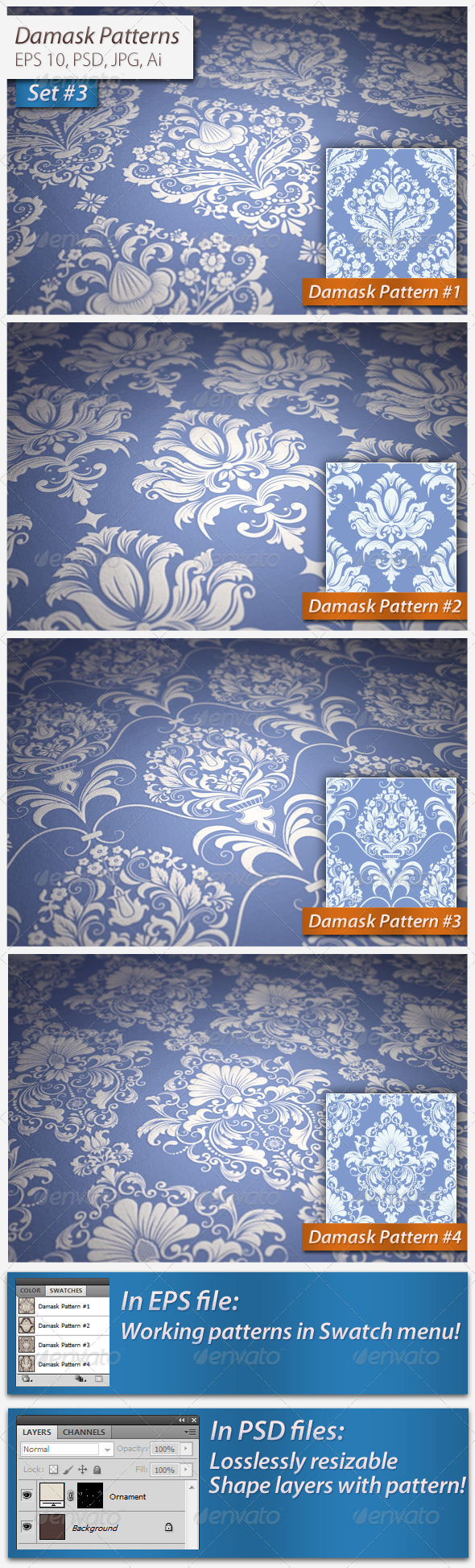 GraphicRiver Seamless Damask Patterns Set 5036676