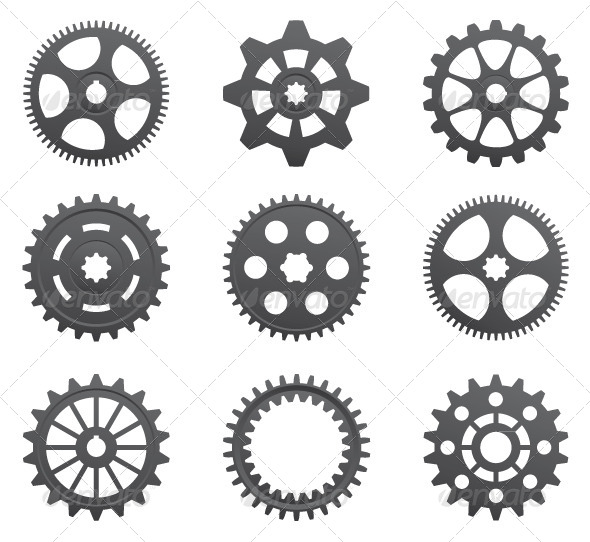 GraphicRiver A Set of Gears and Pinions on a White Background 5037301