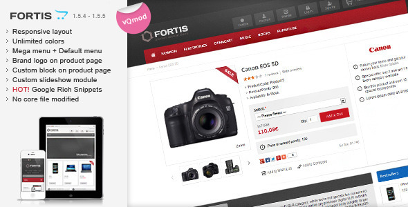 ThemeForest Fortis Responsive OpenCart Theme 5036414