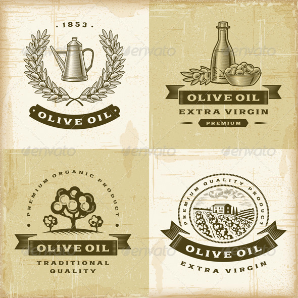 GraphicRiver Vintage Olive Oil Labels Set 5038859