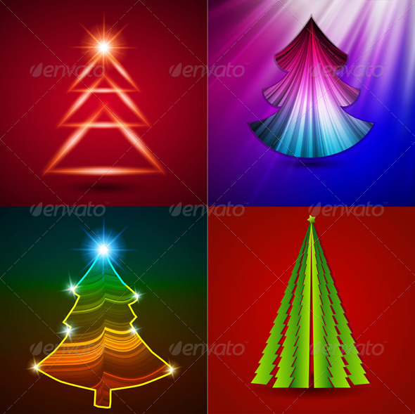 GraphicRiver Vector Set Decorative Christmas Trees 5039429