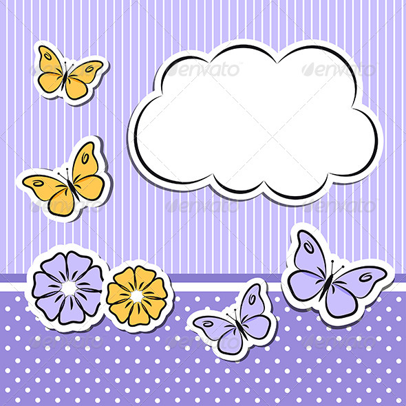 GraphicRiver Paper Cloud With Flowers and Butterflies 5039819