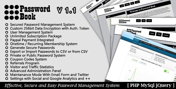 Password Book - Password Management System - WorldWideScripts.net Item for Sale