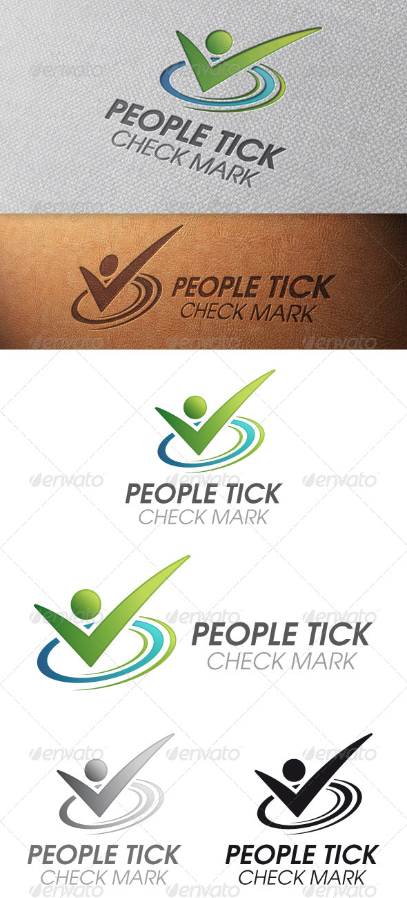 GraphicRiver People Tick Check Mark Logo Template 5041728