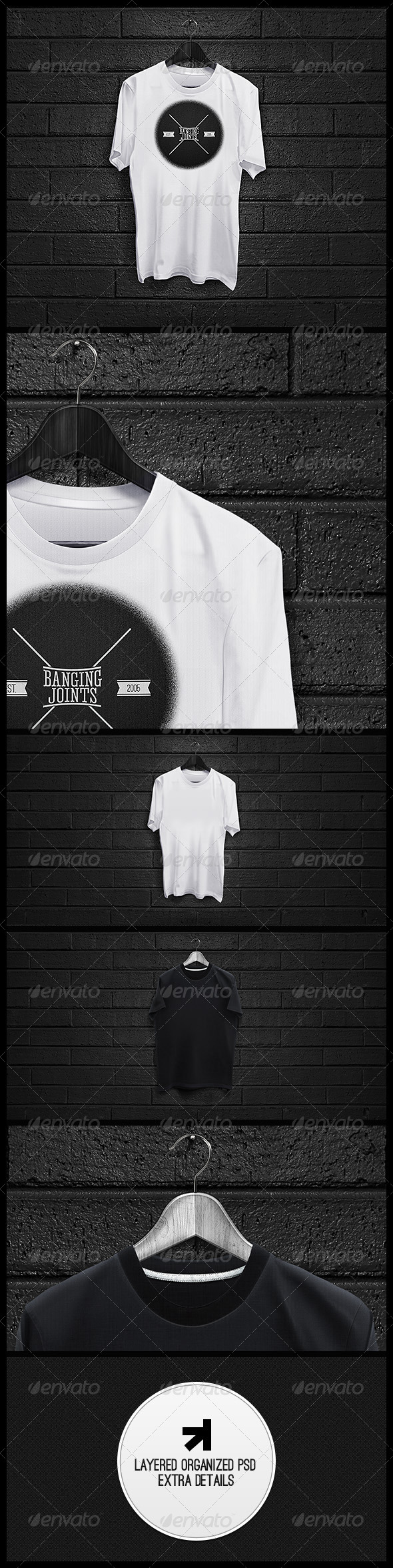 GraphicRiver Black White T-Shirt Mockup 4994940