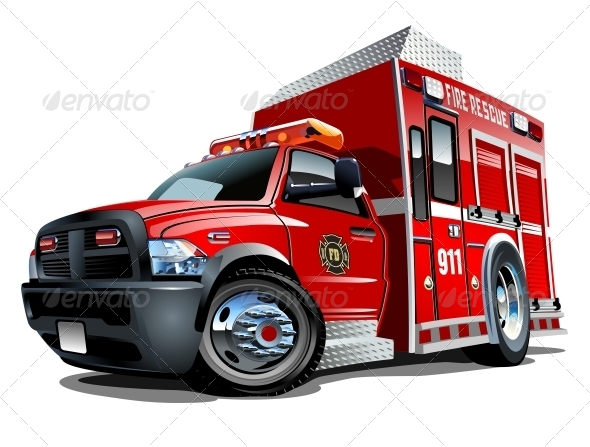 GraphicRiver Vector Cartoon Rescue Truck 5042904