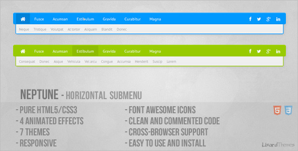 CodeCanyon Neptune Horizontal Submenu 5043729