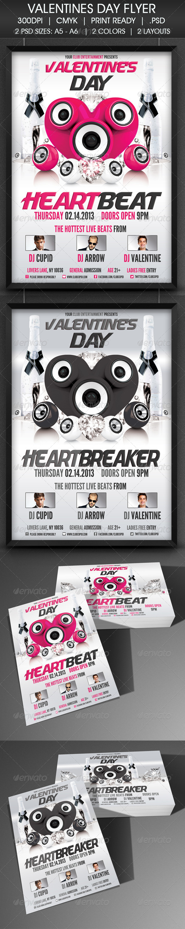 Valentine's Day Heart Beat Flyer - Clubs & Parties Events