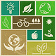 Retro Labels with Ecology Signs and Icons - GraphicRiver Item for Sale