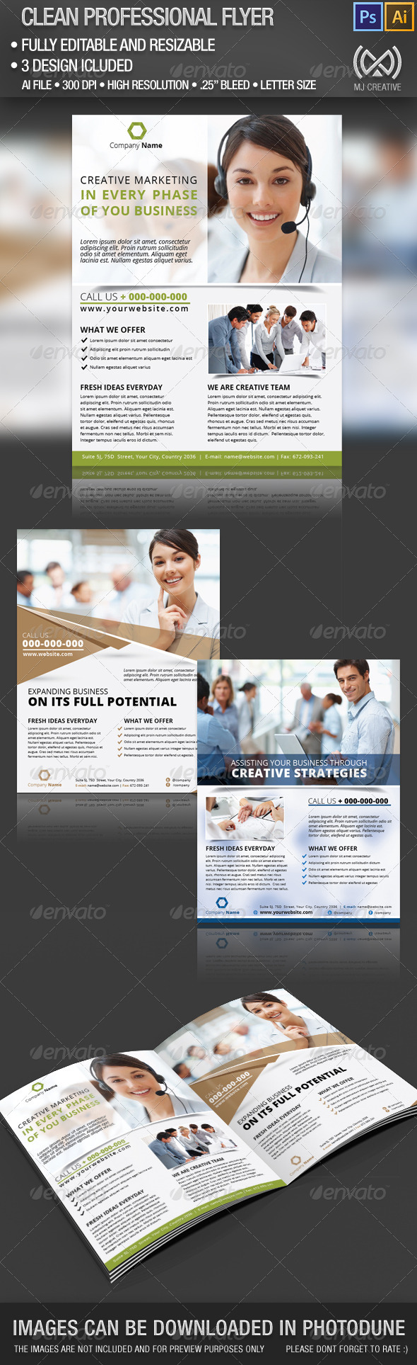 GraphicRiver Clean Professional Flyer Set 4850361