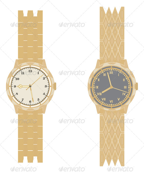 GraphicRiver Gold Watch and Bracelet on a White Background 5047223