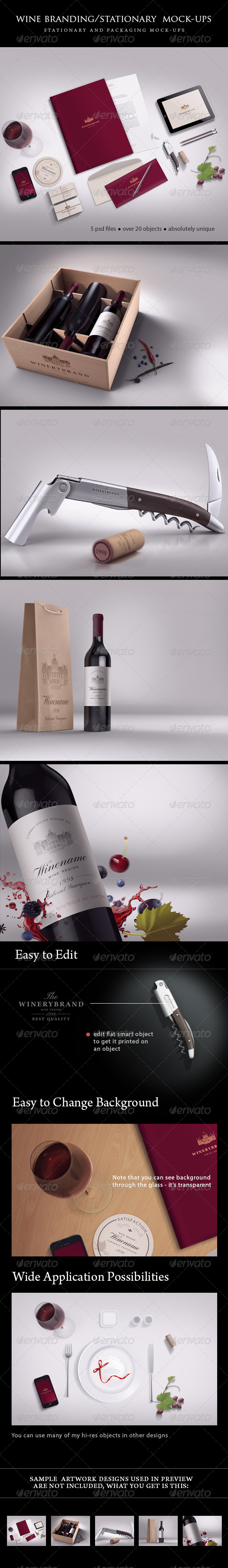 GraphicRiver Wine Branding Stationary Mock-ups Bundle 5048655