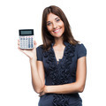 Beautiful smiling business woman with calculator - PhotoDune Item for Sale