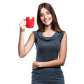 Beautiful young woman with red cup - PhotoDune Item for Sale