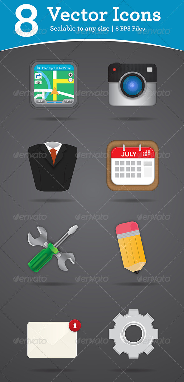 GraphicRiver 8 Vector Icons 5028228