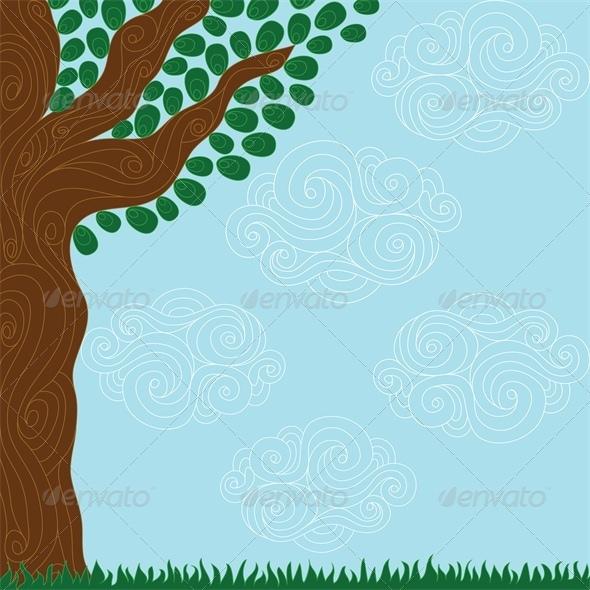 GraphicRiver Stylized Tree Landscape 5052153