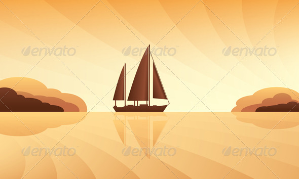 GraphicRiver Sailing Ship on Skyline 5052621