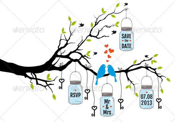 GraphicRiver Wedding Invitation of Birds on Tree with Jars 4926453