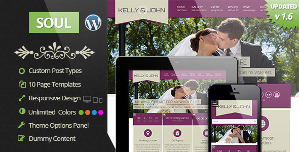 Soul - Responsive WordPress Wedding Theme - Events Entertainment