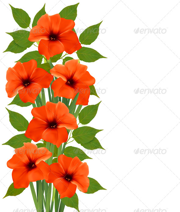 GraphicRiver Holiday Background with Orange Beautiful Flowers 5055131