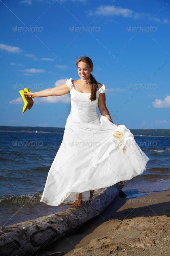 bride with yellow shoes - Stock Photo - Images