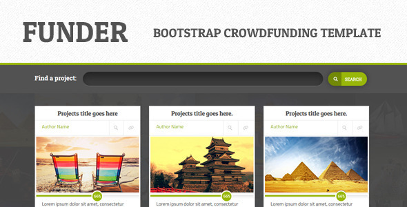 FUNDER - Bootstrap Crowdfunding Site (Single Page) - Miscellaneous Site Templates