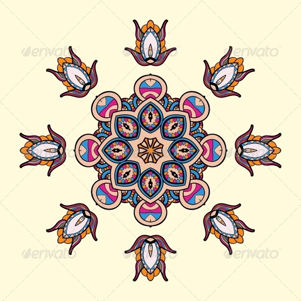 GraphicRiver Circle Lace Steampunk Ornament 5060203