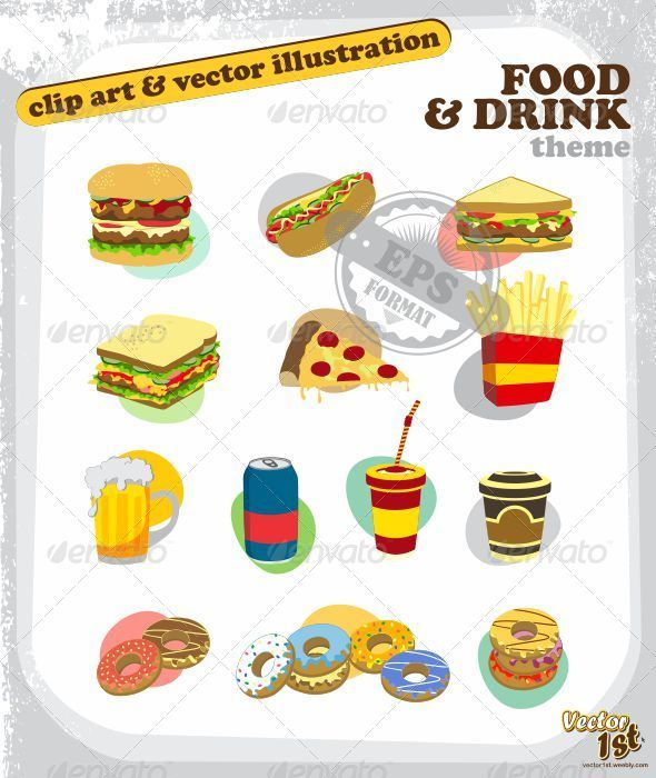 GraphicRiver Food and Drink Colorful Button Pack 5052763