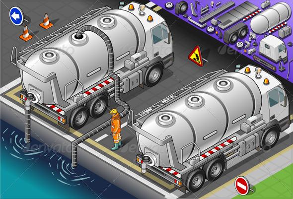 GraphicRiver Isometric Liquid Tank Truck in Rear View 5060315