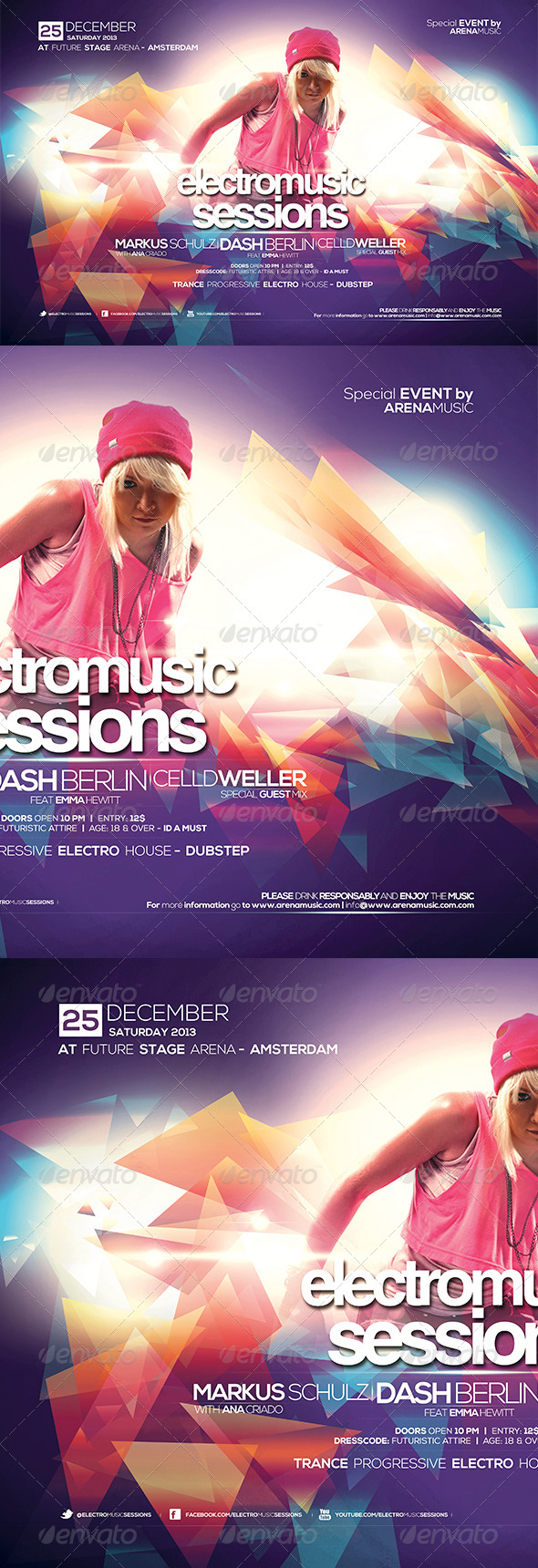 Electro Music Sessions Flyer Template - Clubs & Parties Events