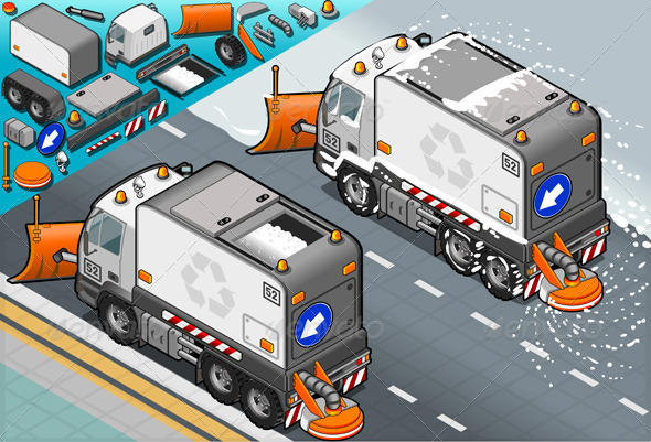 GraphicRiver Isometric Snow Plow Truck in Rear View 5063696