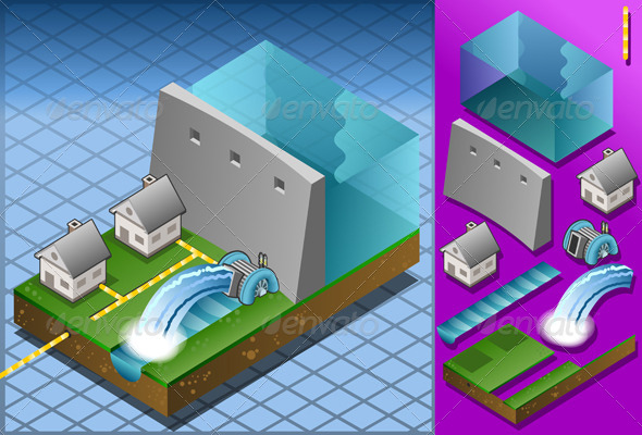 GraphicRiver Isometric Houses Powered by Hydropower Watermill 5063704
