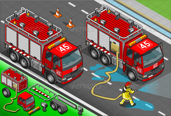 GraphicRiver Isometric Firefighter Truck in Front View 5064408