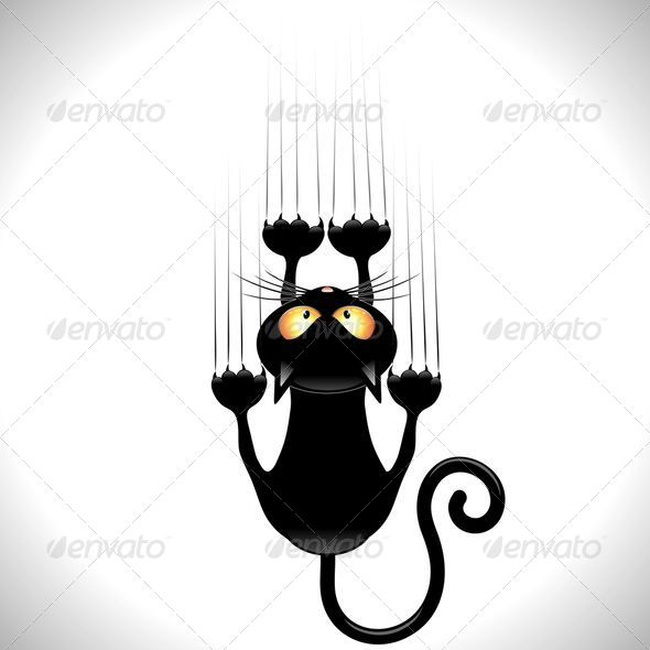 GraphicRiver Black Cat Cartoon Scratching Wall 5068998