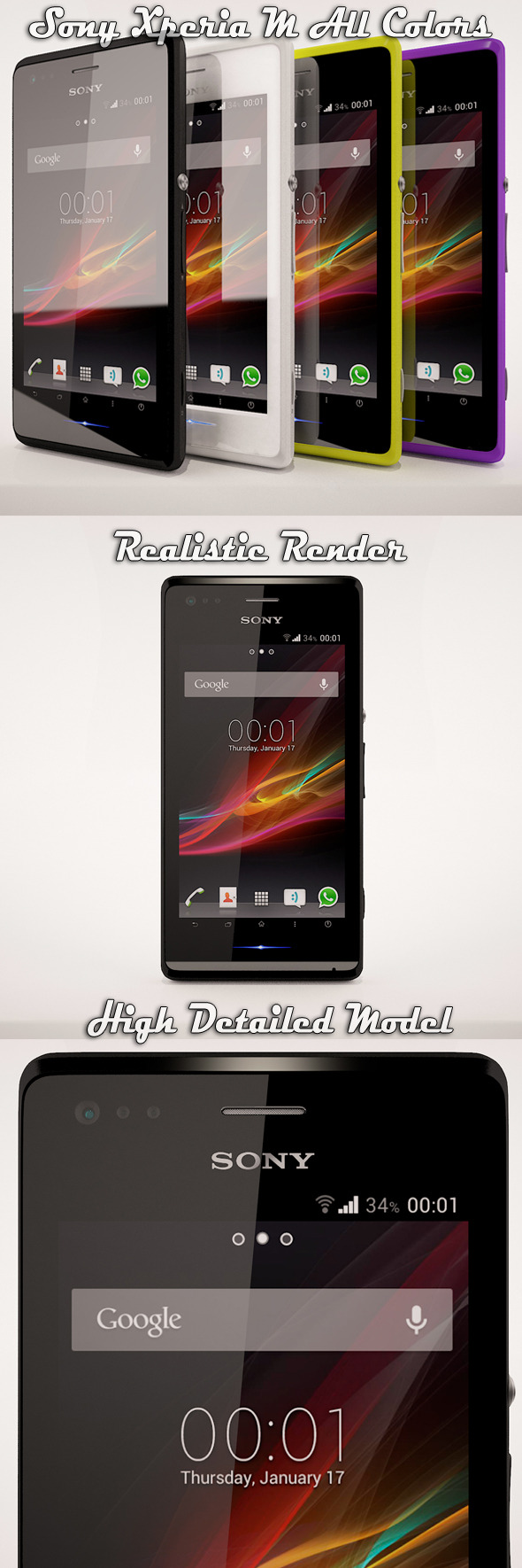 3DOcean Sony Xperia M All Colors 5069661