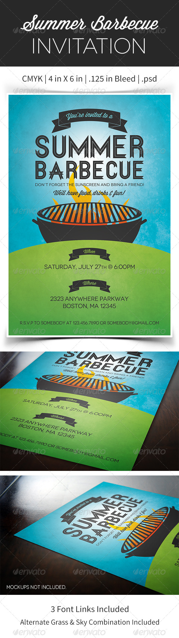 GraphicRiver Summer Barbecue Invitation Flyer 4974355