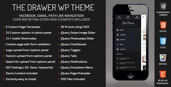 ThemeForest The Drawer Mobile Retina WordPress Version 5071193