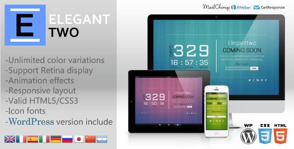 ElegantTwo - Animation Responsive Coming Soon Page - Under Construction Specialty Pages