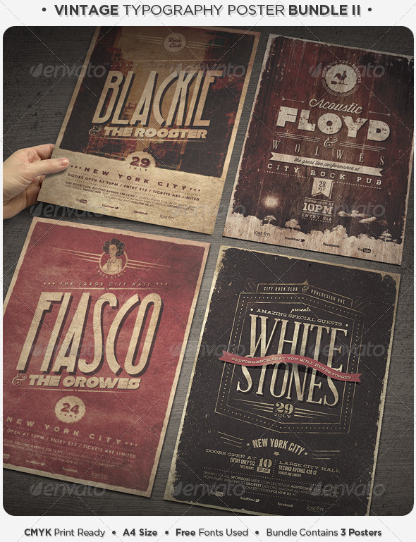 GraphicRiver Vintage Typography Poster Bundle II 5072249