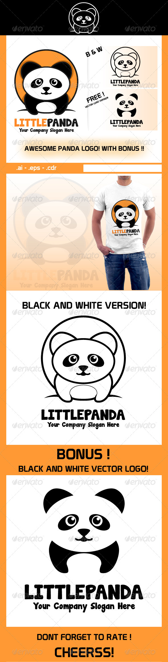 Little Panda Business Logo  - Animals Logo Templates