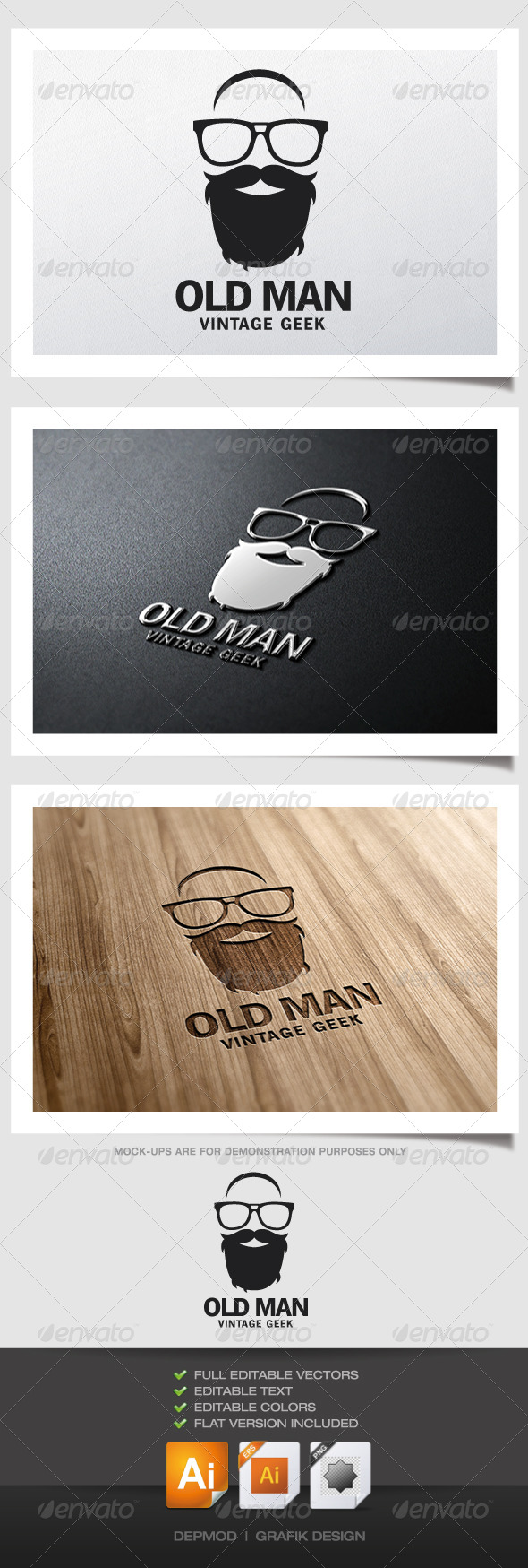 Old Man Logo - Humans Logo Templates