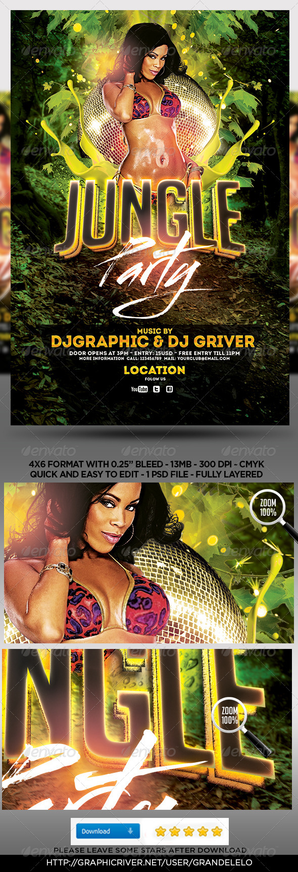 GraphicRiver Jungle party Flyer Template 5074098